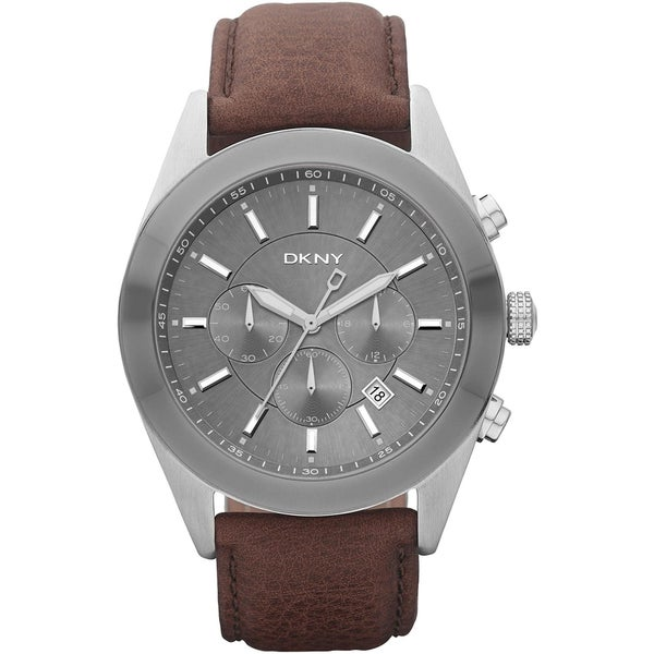 DKNY Men's NY1509 Brown Leather Strap Chronograph Watch