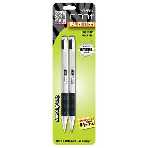 Zebra F-301 Black Fine Point Retractable Ballpoint Pens (Set of 2)