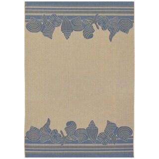 Five Seasons Shoreline Cream/ Blue Rug (5'3 x 7'6)