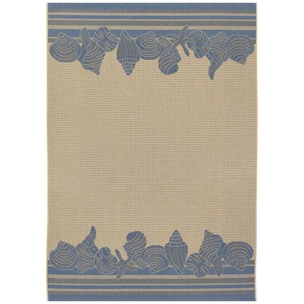 Five Seasons Shoreline Cream/ Blue Rug (8'6 x 13')