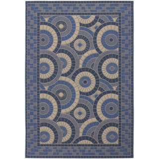 Couristan Five Seasons Sundial/ Cream and Blue Area Rug (7'6 x 10'9)