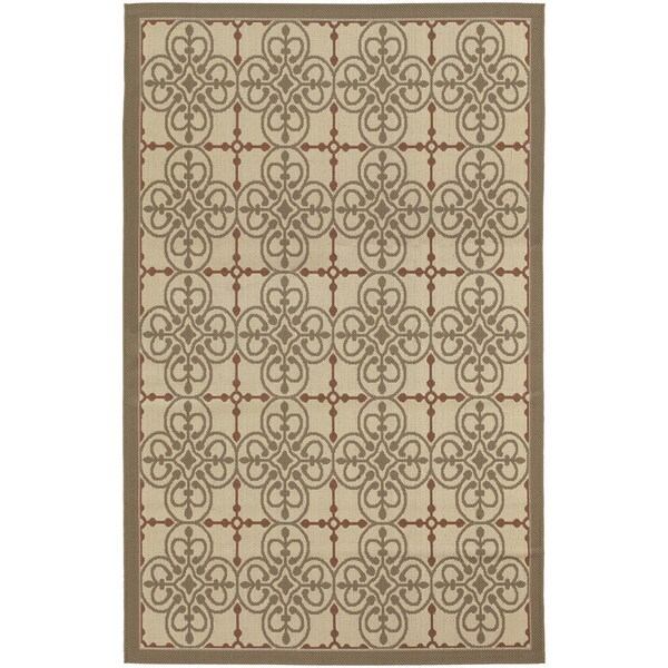Five Seasons Delray/ Cream-Sky Blue Area Rug (8'6 x 13')