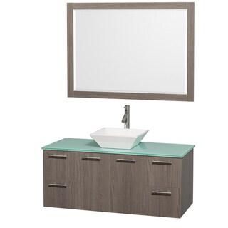 Wyndham Collection 'Amare' 48-inch Grey Oak/ Green Top/ White Sink Vanity Set