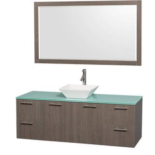 Wyndham Collection 'Amare' 60-inch Grey Oak/ Green Top/ White Sink Vanity Set