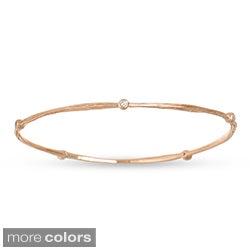 Eloquence 14k Gold 1/10ct TDW Diamond Station Bangle Bracelet