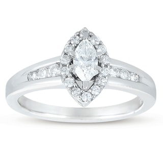 14k White Gold 1/2ct TDW Diamond Halo Engagement Ring