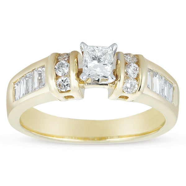 14k Gold 7/8ct TDW Princess-cut Diamond Engagement Ring (I-J, I1-I2)