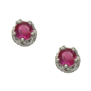 Junior Jewels Tiara Collection Sterling Silver Children's 4mm Gemstone Crown Earrings (2 options available)