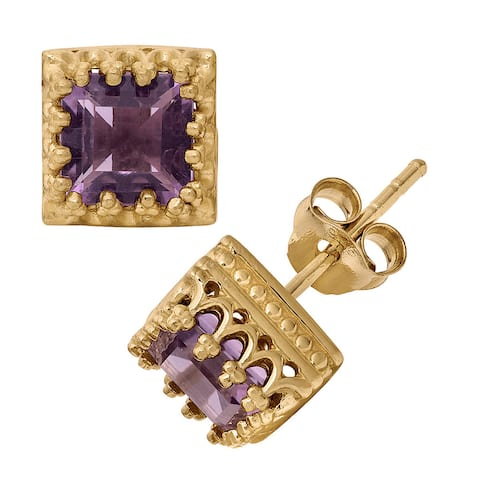 Gioelli Tiara Collection Goldplated Silver 6mm Square Gemstone Crown Earrings