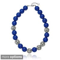 Riccova Plated Crystal Flower Ball and Enamel Bead Necklace