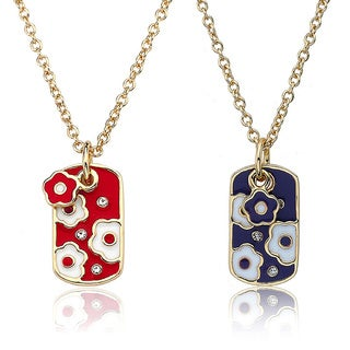 Little Miss Twin Stars 14k Goldplated Crystal and Enamel Flower Necklace