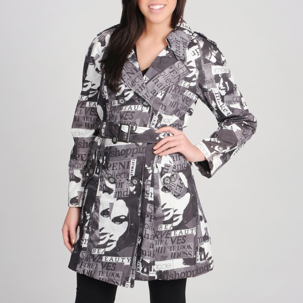 Women's 'Faces' Black Double Breasted Short Coat