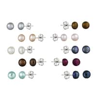 Glitzy Rocks Silver FW Pearl 10-pair Stud Earring Set (5-6 mm)