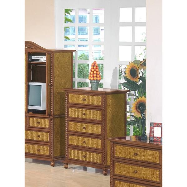 International Caravan Nigel Wicker/ Wood 5-drawer Chest
