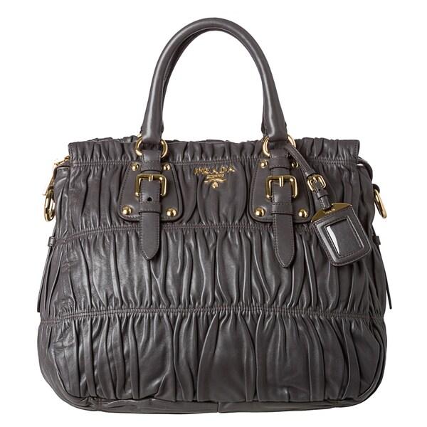 Prada 'Gaufre' Large Dark Grey Nappa Leather Tote Bag