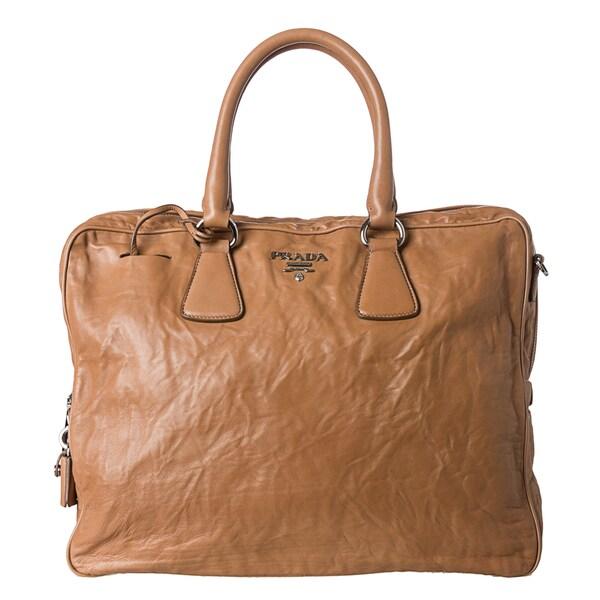 Prada Tan Antiqued Nappa Leather Top Handle Satchel