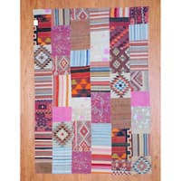 Herat Oriental Afghan Hand-woven 1960s Semi-antique Tribal Patchwork Wool Kilim (7' x 10') - 7' x 10'