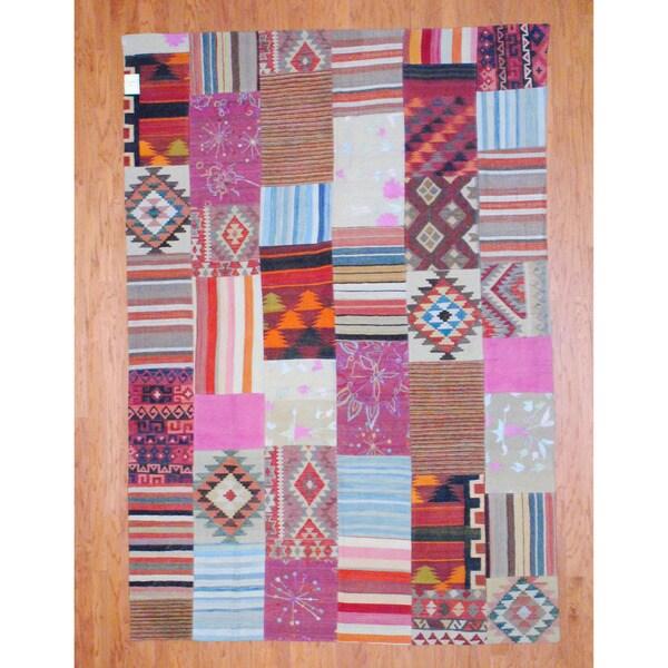Handmade Herat Oriental Afghan 1960s Semi-antique Tribal Patchwork Wool Kilim - 7' x 10' (Afghanistan)