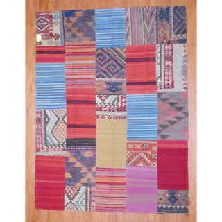 Herat Oriental Afghan Hand-woven 1960s Semi-antique Tribal Patchwork Kilim Multi-colored Wool Rug (7'4 x 9'10)