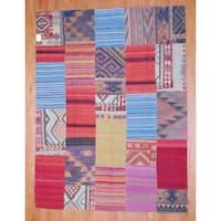 Handmade Herat Oriental Afghan 1960s Semi-antique Tribal Patchwork Wool Kilim - 7'4 x 9'10 (Afghanistan)