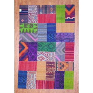 Herat Oriental Afghan Hand-woven 1960s Semi-antique Tribal Patchwork Kilim Multi-colored Wool Rug (7' x 10'6)