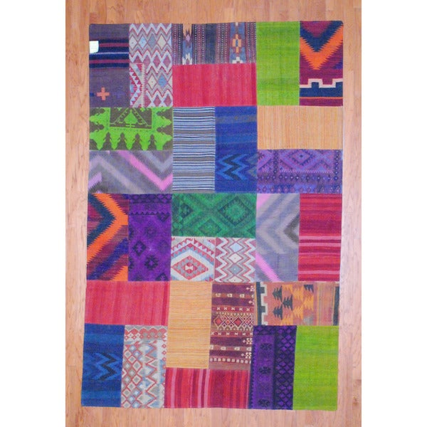 Herat Oriental Afghan Hand-woven 1960s Semi-antique Tribal Patchwork Wool Kilim (7' x 10'6) - 7' x 10'6
