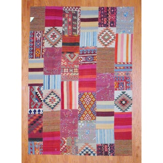 Herat Oriental Antique Afghan Hand-woven Tribal Patchwork Kilim Multi-colored Wool Rug (7' x 10'1)