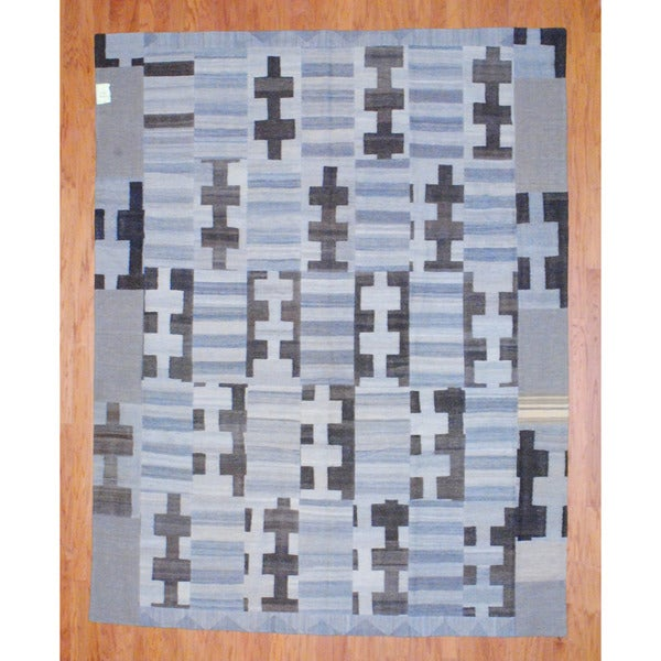 Herat Oriental Afghan Hand-woven 1960s Semi-antique Tribal Patchwork Wool Kilim (7'8 x 9'8) - 7'8 x 9'8