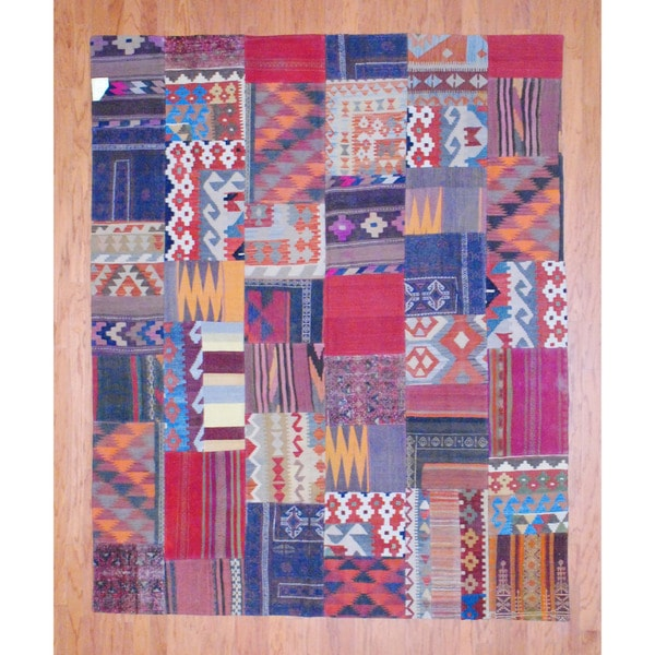 Herat Oriental Afghan Hand-woven 1960s Semi-antique Tribal Patchwork Wool Kilim (7' x 8'7) - 7' x 8'7