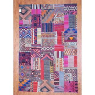 Herat Oriental Afghan Hand-woven 1960s Semi-antique Tribal Patchwork Multi-colored Wool Kilim (7'2 x 10'9)