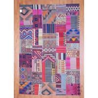 Handmade Herat Oriental Afghan 1960s Semi-antique Tribal Patchwork Wool Kilim - 7'2 x 10'9 (Afghanistan)
