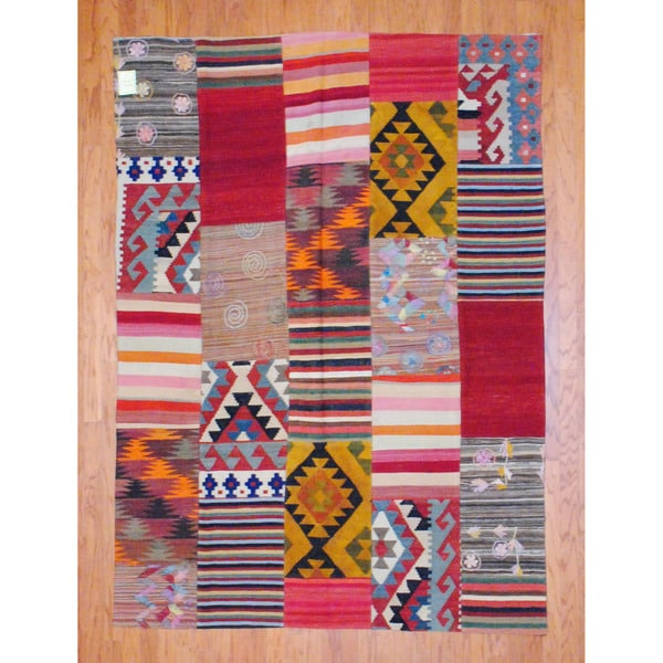 Antique Afghan Hand-woven Tribal Patchwork Kilim Multi-colored Wool Rug (5'11 x 8'3)
