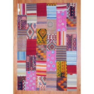 Herat Oriental Afghan Hand-woven 1960s Semi-antique Tribal Patchwork Multi-colored Wool Kilim (7'2 x 10'4)