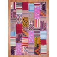 Handmade Herat Oriental Afghan 1960s Semi-antique Tribal Patchwork Wool Kilim - 7'2 x 10'4 (Afghanistan)