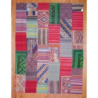 Herat Oriental Afghan Hand-woven 1960s Semi-antique Tribal Patchwork Multi-colored Wool Kilim (8'11 x 12')