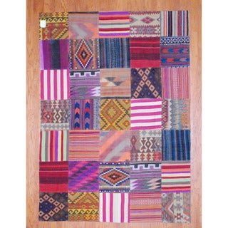 Handmade One-of-a-Kind Patchwork Wool Kilim (Pakistan) - 6'8 x 9'4
