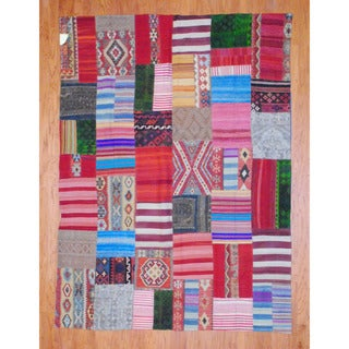 Herat Oriental Afghan Hand-woven 1960s Semi-antique Tribal Patchwork Multi-colored Wool Kilim (7'2 x 9'6)