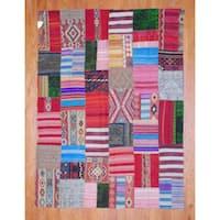 Handmade Herat Oriental Afghan 1960s Semi-antique Tribal Patchwork Wool Kilim - 7'2 x 9'6 (Afghanistan)