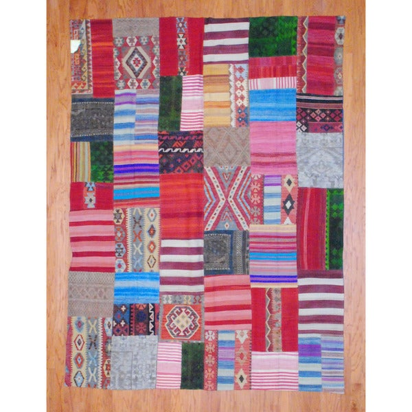Herat Oriental Afghan Hand-woven 1960s Semi-antique Tribal Patchwork Wool Kilim (7'2 x 9'6) - 7'2 x 9'6
