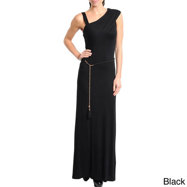 Stanzino Women's Solid Asymmetric Neckline Maxi Dress