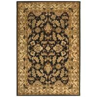 Safavieh Handmade Heritage Traditional Kashan Black/ Beige Wool Rug - 11' x 16'