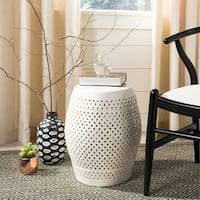 "Safavieh Paradise Courtyard Cream Ceramic Garden Stool - 14"" x 14"" x 17.5"""
