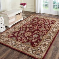 Safavieh Handmade Heritage Traditional Kashan Red/ Ivory Wool Rug - 11' x 16'
