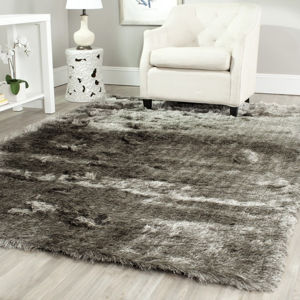safavieh handmade silken glam paris shag silver rug (11' x 15