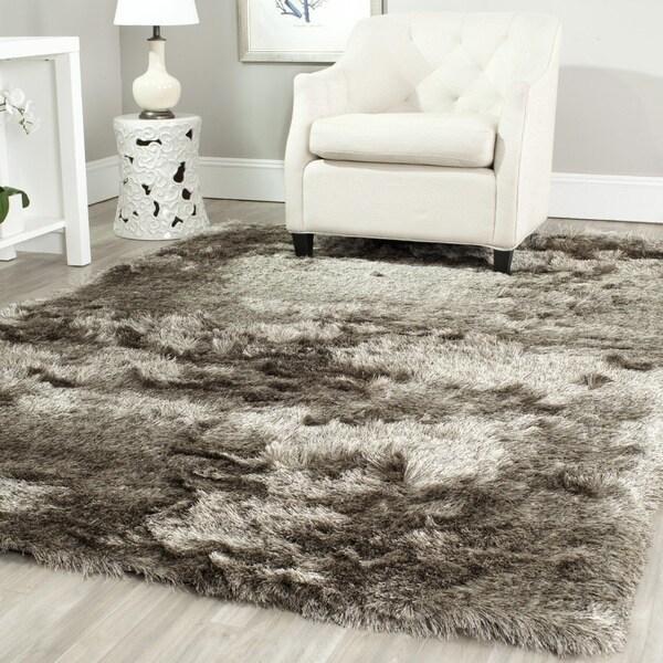 safavieh handmade silken glam paris shag sable brown rug (11' x 15