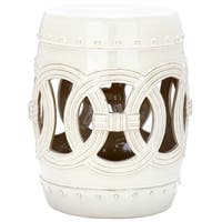 "Safavieh Paradise Double Coin Cream Ceramic Garden Stool - 13"" x 13"" x 17"""