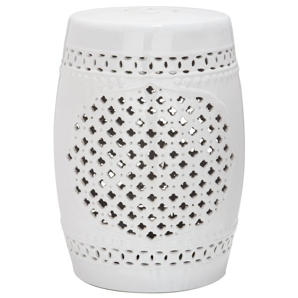 in ceramic white stool home garden at