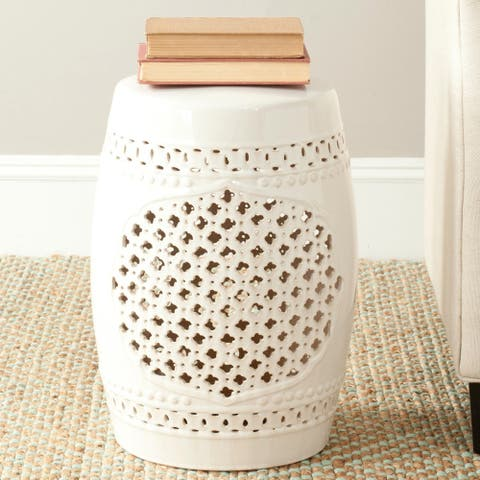 Safavieh Paradise Gardens Cream Ceramic Decorative Garden Stool