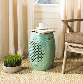 Safavieh Paradise Gardens Light Blue Ceramic Garden Stool