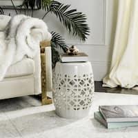 "Safavieh Paradise Tranquility Cream Ceramic Garden Stool - 13.5"" x 13.5"" x 17"""